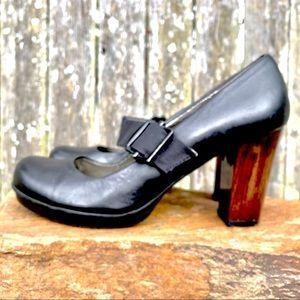KENNETH COLE Mary Janes -Leather Black/Wood Heel